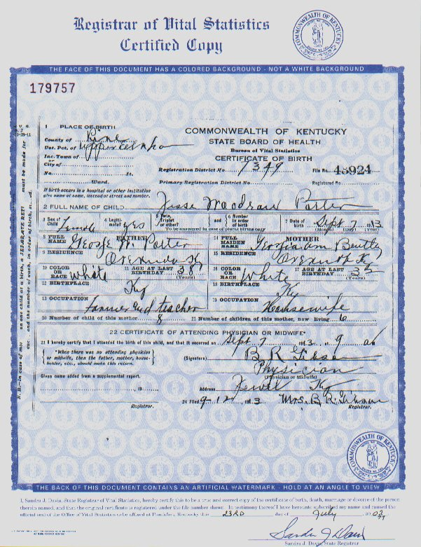 birth certificate for the state of kentucky